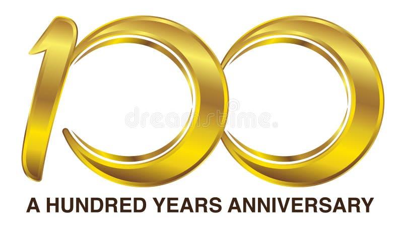 Logotipo de oro del aniversario de cientos años ilustración del vector