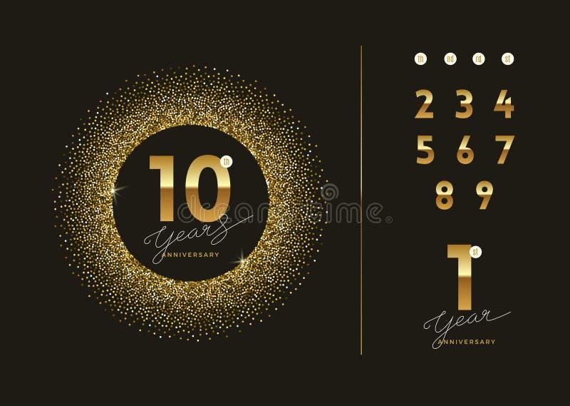 Logotipo de oro del aniversario con el marco del oro del brillo stock de ilustración