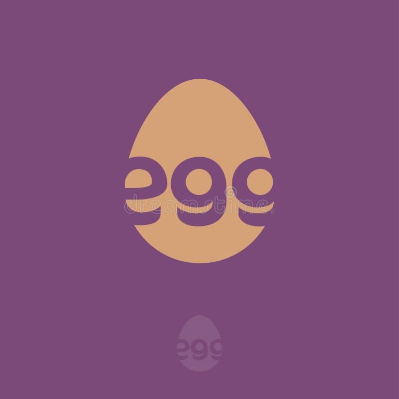 Logotipo de oro del huevo Emblema para los productos agrícolas, las mercancías de la cocina y un símbolo de los días de fiesta de stock de ilustración