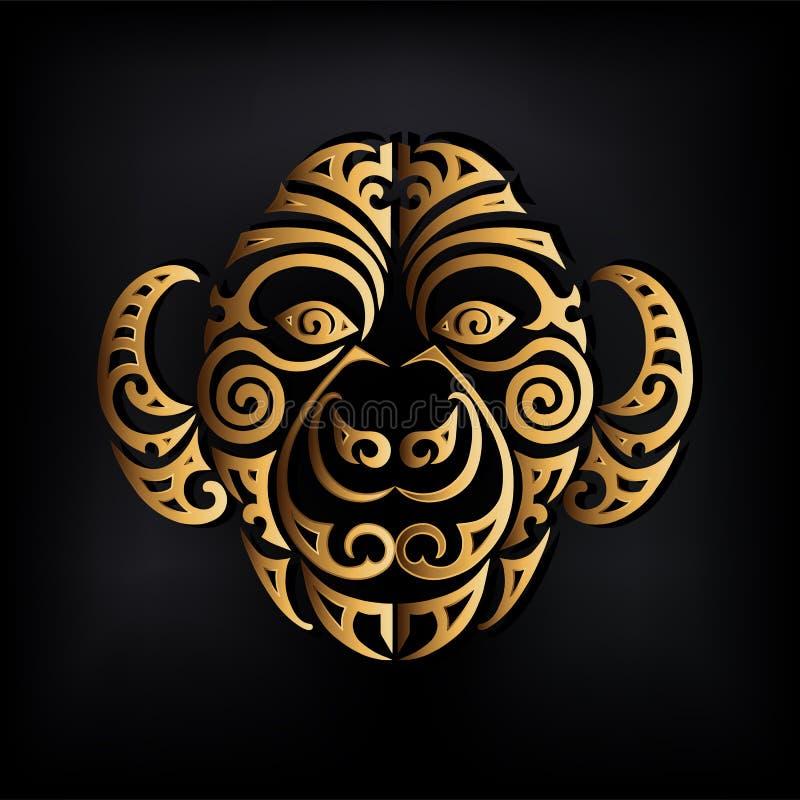 Logotipo de oro de la cabeza del mono aislado en fondo negro ilustración del vector