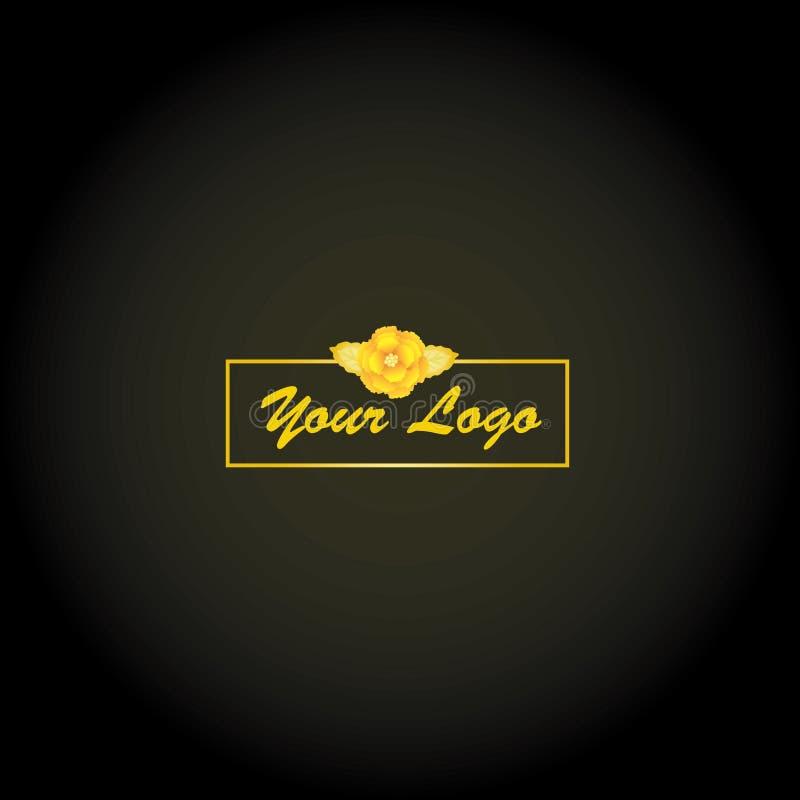 Logotipo de oro de la flor, elegante y de lujo imagen de archivo libre de regalías