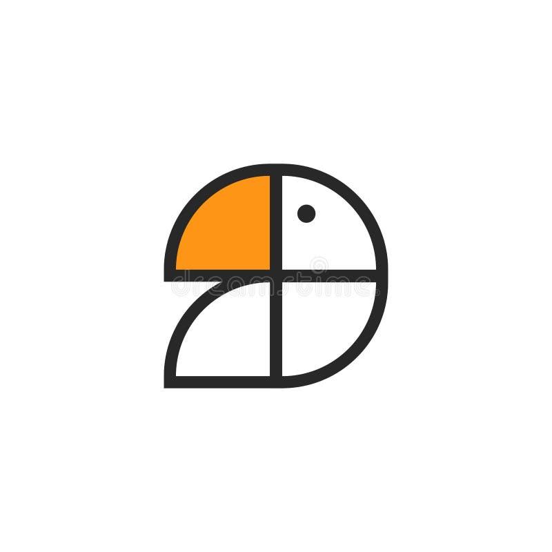 Logotipo de pássaro ou papagaio tucano abstrato, formas simples no estilo do minimalismo, emblema criativo para uma loja de zooló ilustração royalty free