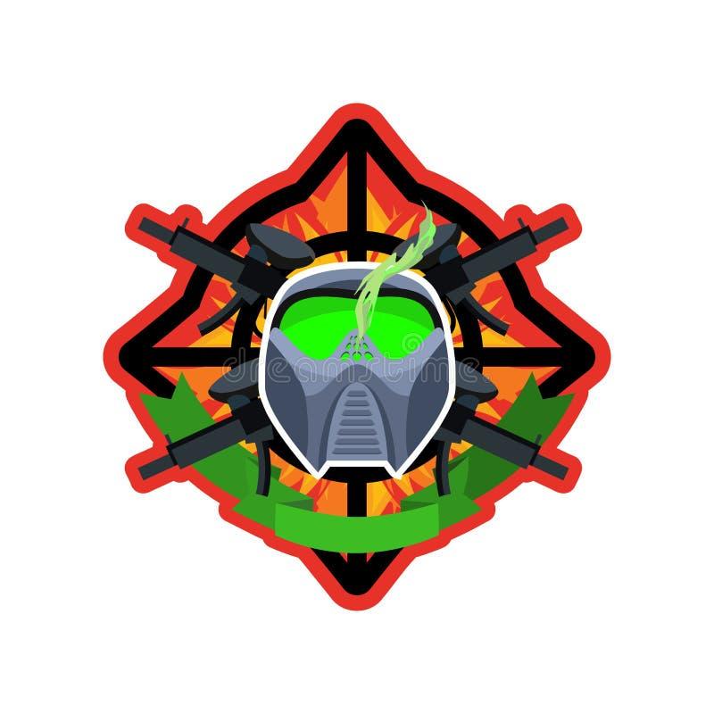 Logotipo de Paintball Emblema militar Muestra del ejército Casco y armas stock de ilustración