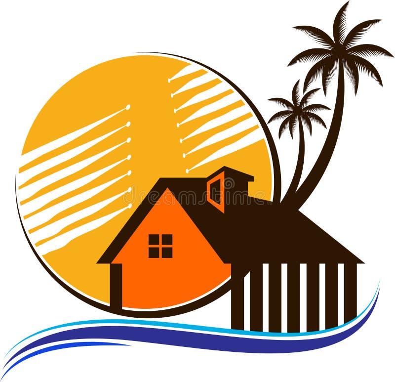 Logotipo de Palm Beach da árvore da casa ilustração do vetor