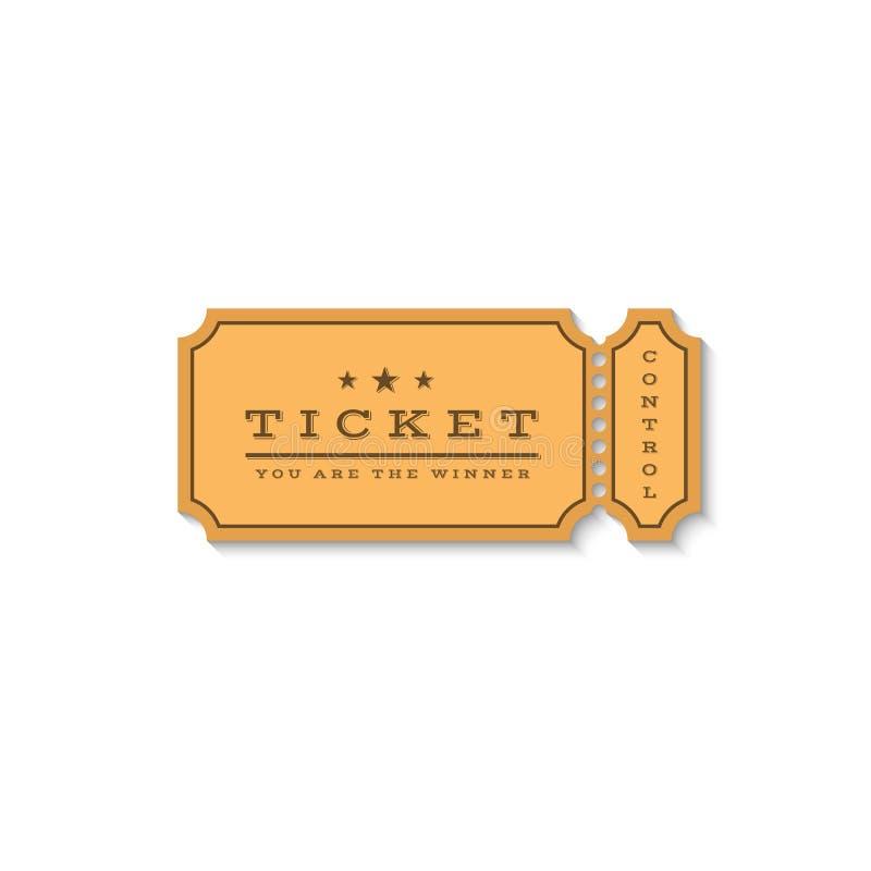 Logotipo de papel de la maqueta del boleto El vale de la cartulina para la entrada al cine o para una cierta acción entretenida,  libre illustration