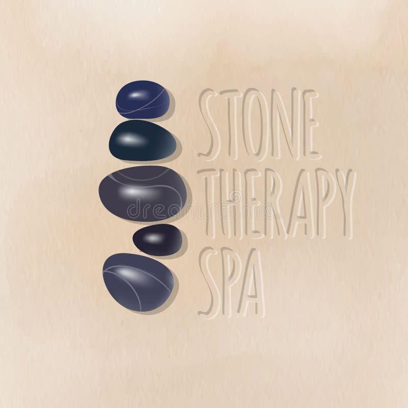 Logotipo de piedra del balneario de la terapia Piedras brillantes oscuras del balneario para los procedimientos del balneario en  libre illustration