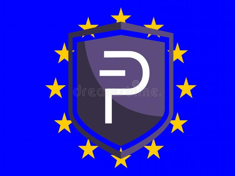 Logotipo de PIVX en bandera europea ilustración del vector