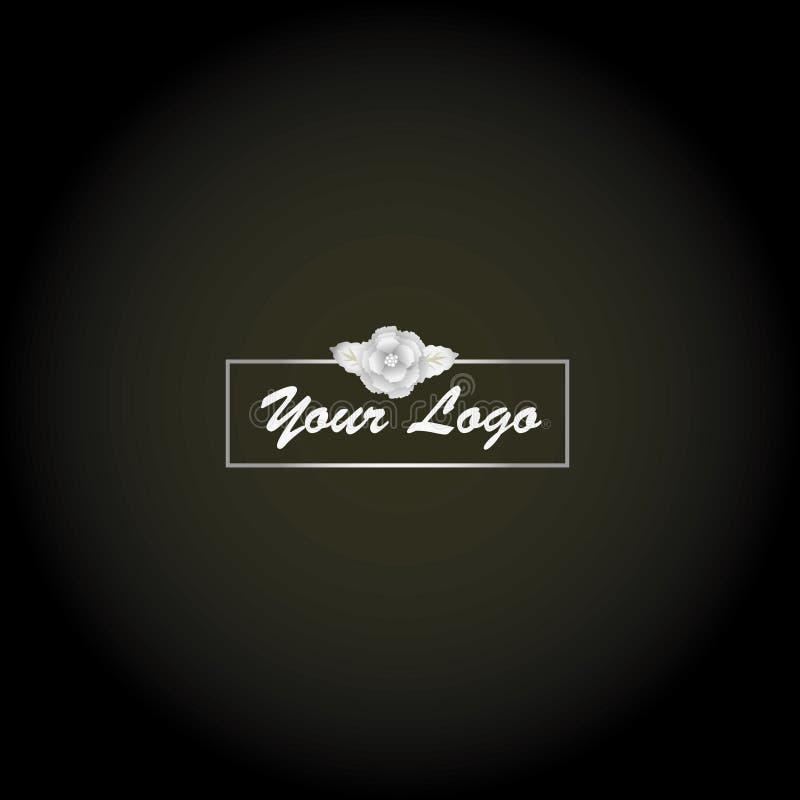 Logotipo de plata de la flor, elegante y de lujo fotografía de archivo libre de regalías