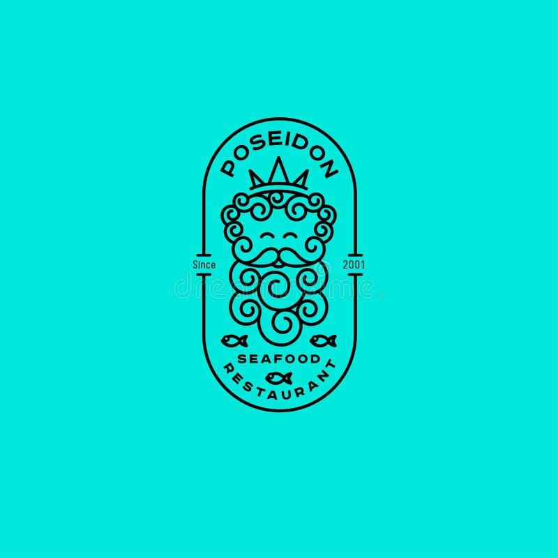 Logotipo de Poseidon Logotipo de Netuno Emblemas do restaurante do marisco Poseidon na coroa e nos peixes com letras no crachá ov ilustração do vetor