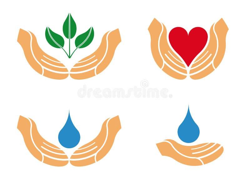 Logotipo de protecção das mãos ilustração do vetor