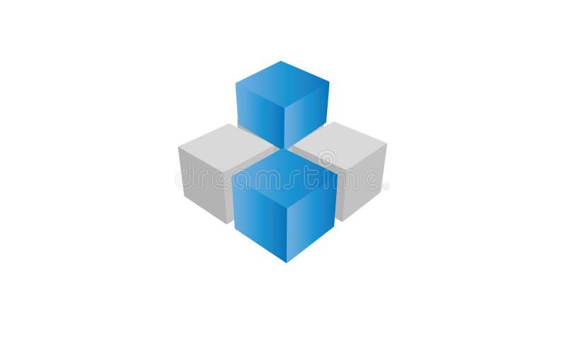 Logotipo de quatro cubos em azul e em de prata ilustração do vetor