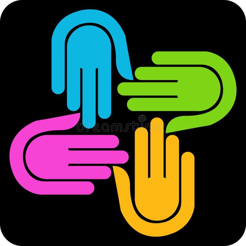 Logotipo de quatro mãos ilustração stock
