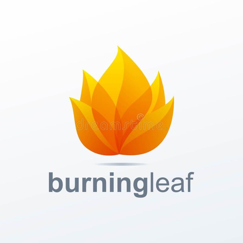 Logotipo de queimadura da folha pronto para uso ilustração stock