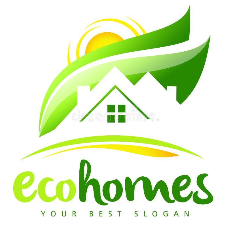 Logotipo de Real Estate de la casa de Eco ilustración del vector
