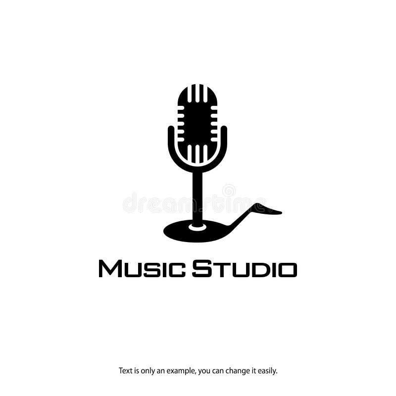 Logotipo de registro del estudio de la música Icono del vector del micrófono y de la nota stock de ilustración