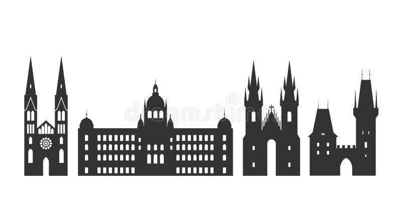 Logotipo de República Checa Arquitetura checa isolada no fundo branco ilustração do vetor