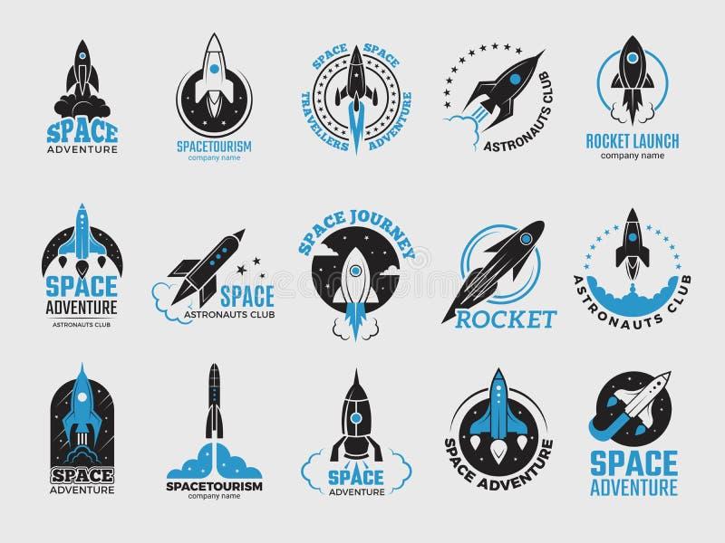 Logotipo de Rocket Os logotypes retros satélites da descoberta da lua da canela do espaço de crachás do preto do vetor do obervat ilustração stock