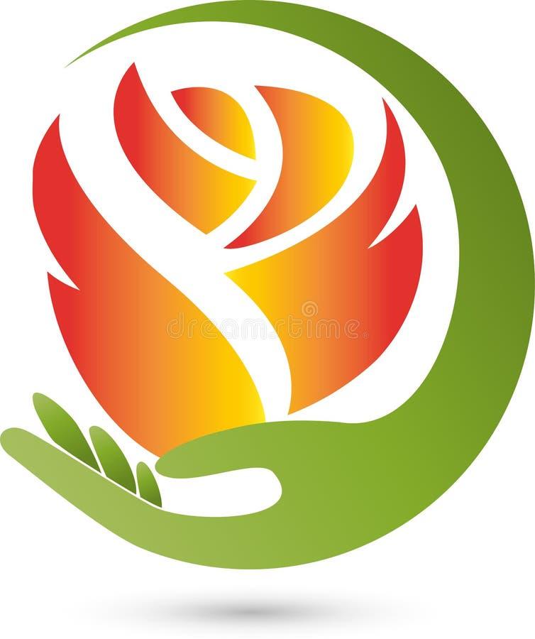 Logotipo de Rose, de la flor y de la mano, de la flor y del regalo ilustración del vector
