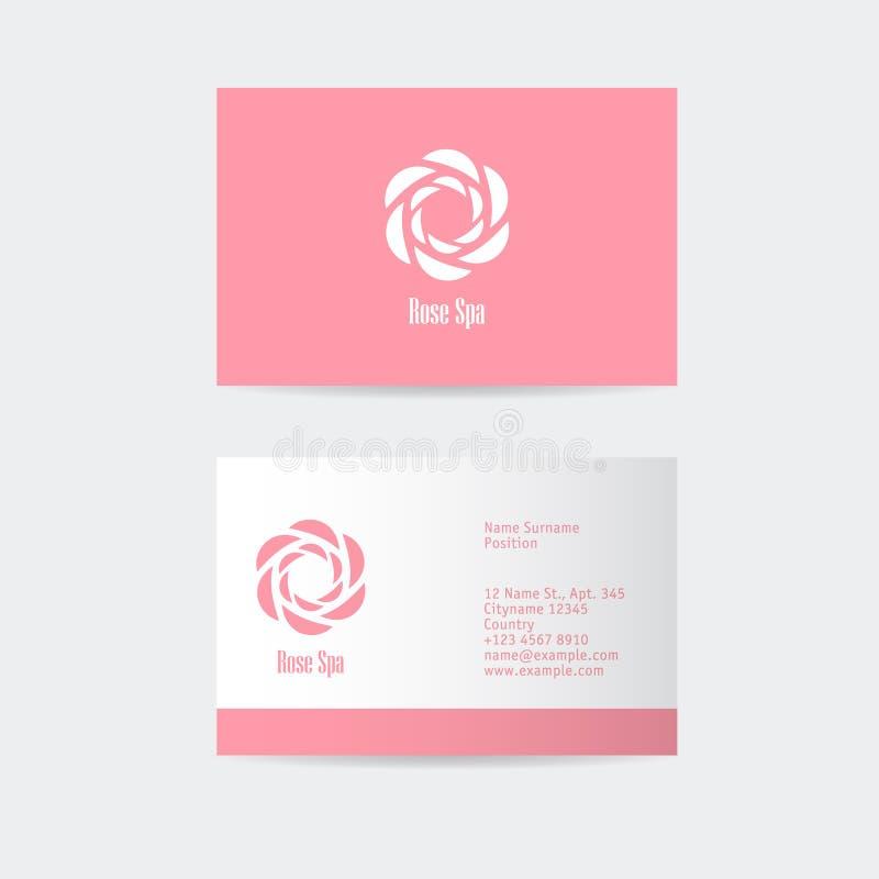 Logotipo de Rose Spa Logotipo da beleza ou dos cosméticos Emblema fêmea do encanto A geometria abstrata aumentou ilustração do vetor