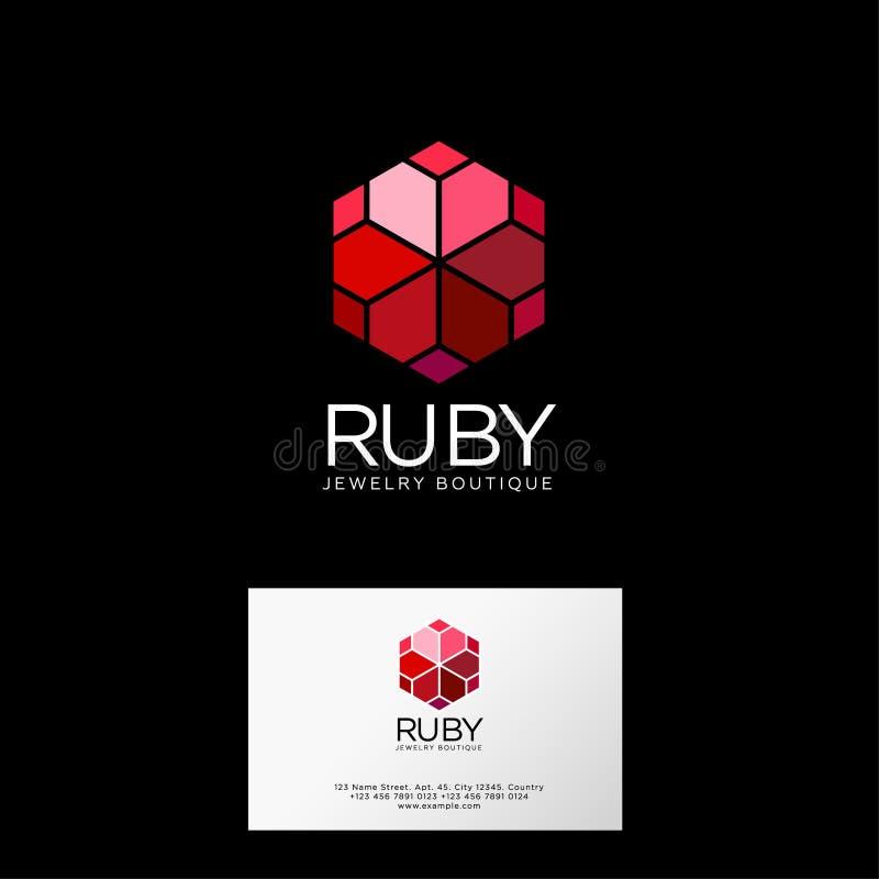 Logotipo de Ruby Cristales rojos con las letras Emblema superior de la joyería stock de ilustración