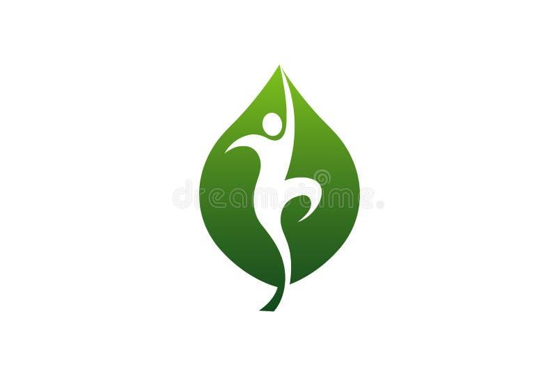 Logotipo de salto do projeto do corpo da folha do bem-estar ilustração do vetor