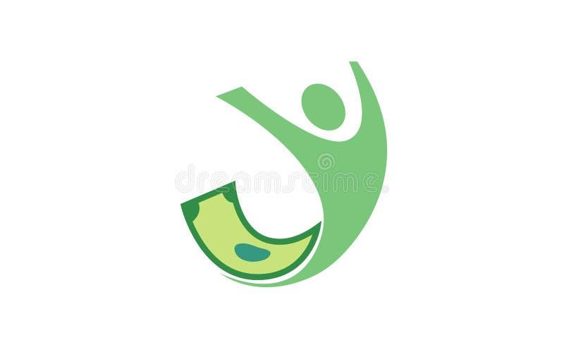 Logotipo de salto do sucesso do dinheiro do corpo humano ilustração stock
