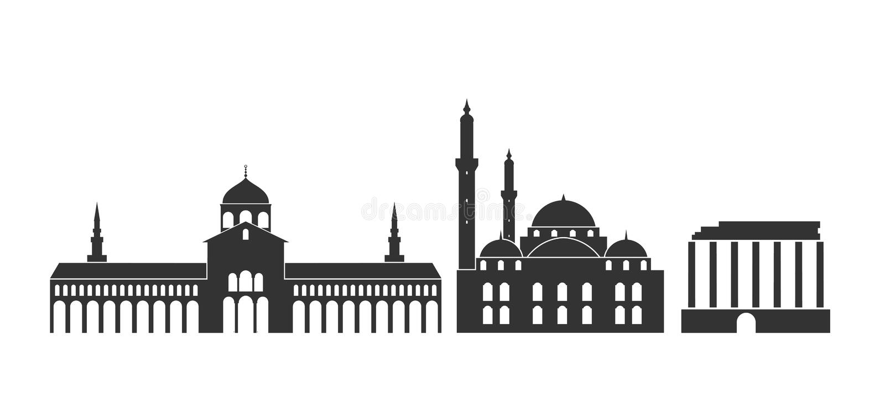 Logotipo de Siria Arquitectura aislada de Siria en el fondo blanco