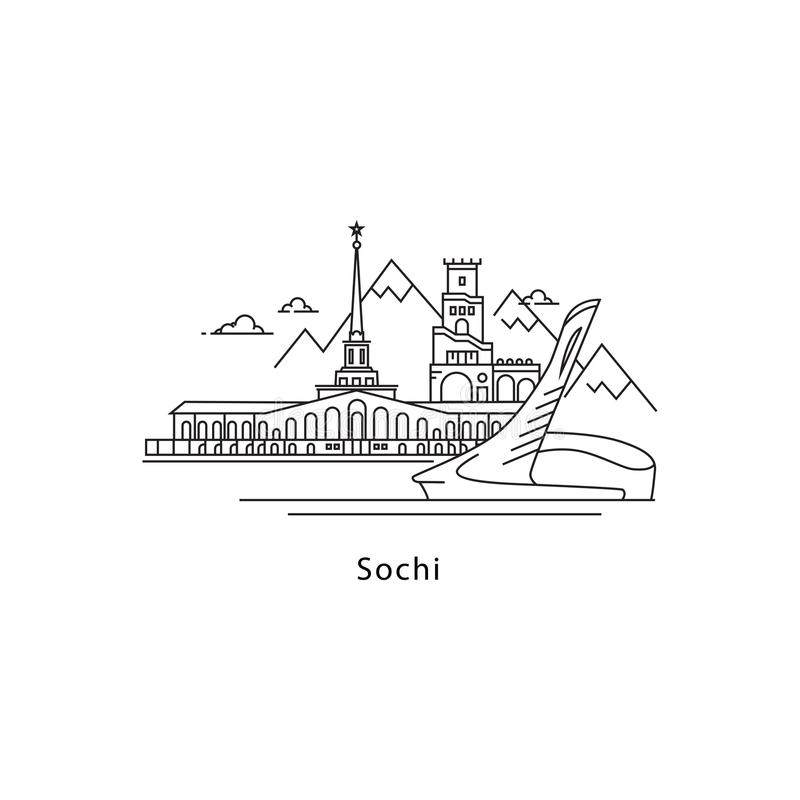 Logotipo de Sochi isolado no fundo branco Linha ilustração dos marcos de Sochi s do vetor Viagem ao conceito das cidades de Rússi ilustração royalty free