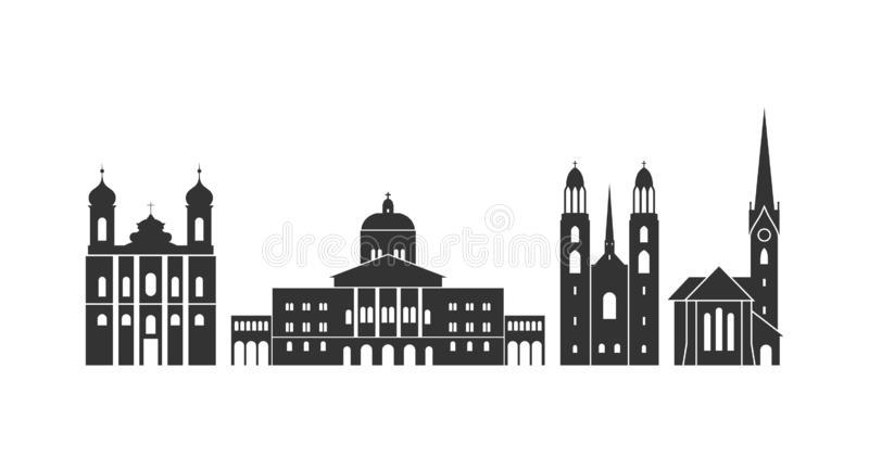 Logotipo de Suíça Arquitetura suíça isolada no fundo branco ilustração stock