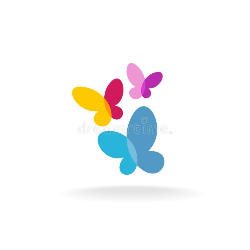 Logotipo de três borboletas ilustração royalty free