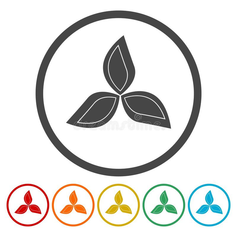 Logotipo de três folhas símbolo natural da planta ilustração stock