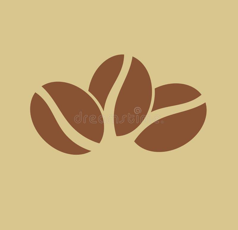 Logotipo de tres granos de café stock de ilustración