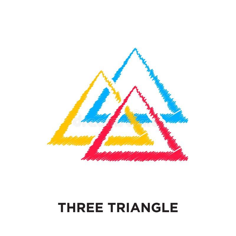 logotipo de tres triángulos aislado en el fondo blanco para su web, m stock de ilustración