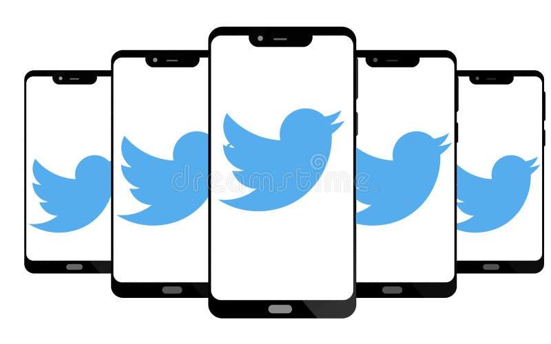 Logotipo de Twitter no telefone esperto da tela ilustração stock