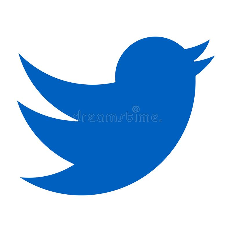 Logotipo de Twitter Pássaro azul em um fundo branco vetor do ícone ilustração royalty free
