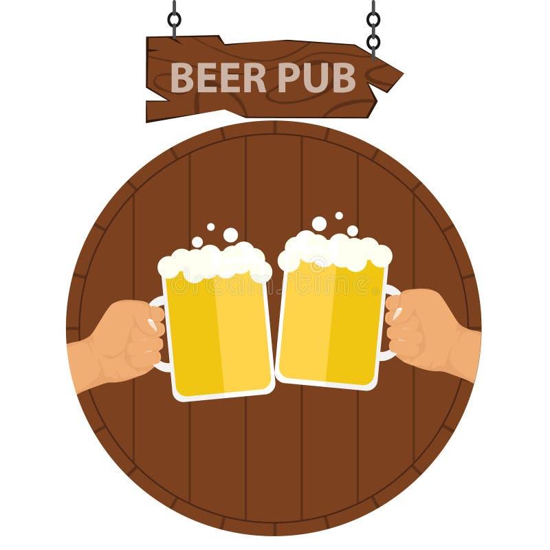 Logotipo de um bar da cerveja, uma bandeira de um bar da cerveja Duas mãos com as canecas de cerveja no fundo de um barril da cer ilustração royalty free