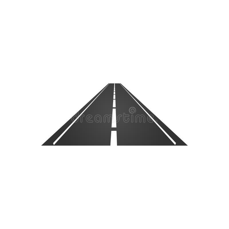 logotipo de un camino minimalistic con un borde de la carretera y una tira de división punteada Ilustración del vector aislada en stock de ilustración