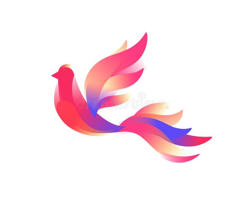 Logotipo de un pájaro Un pájaro fabuloso Imagen del vector en un estilo plano en un fondo blanco Símbolo rosado del chirrido de l stock de ilustración