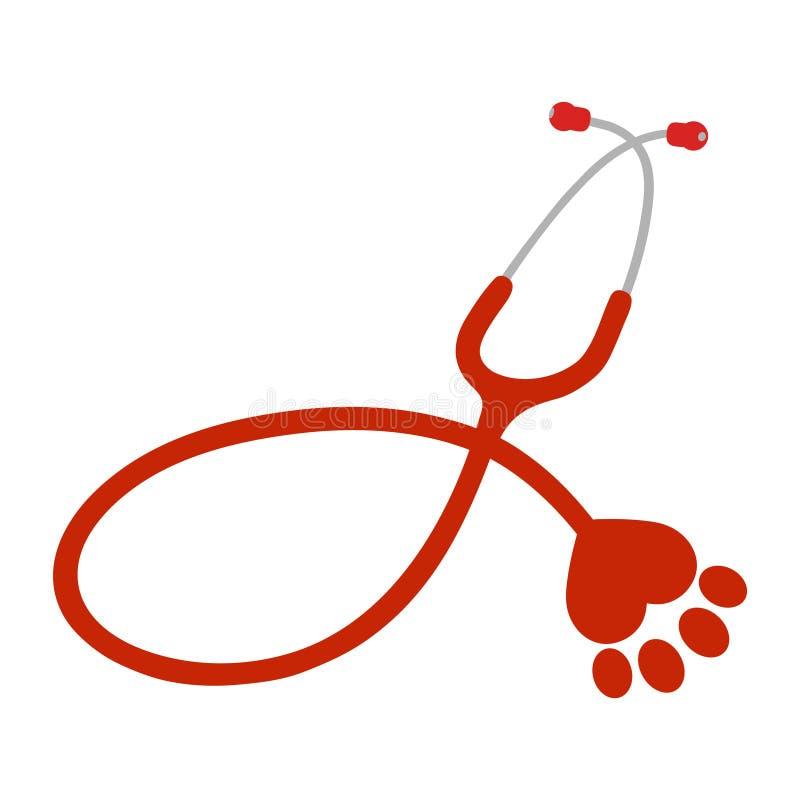 Logotipo de un perro y de un gato veterinarios de la clínica en un fondo blanco ilustración del vector