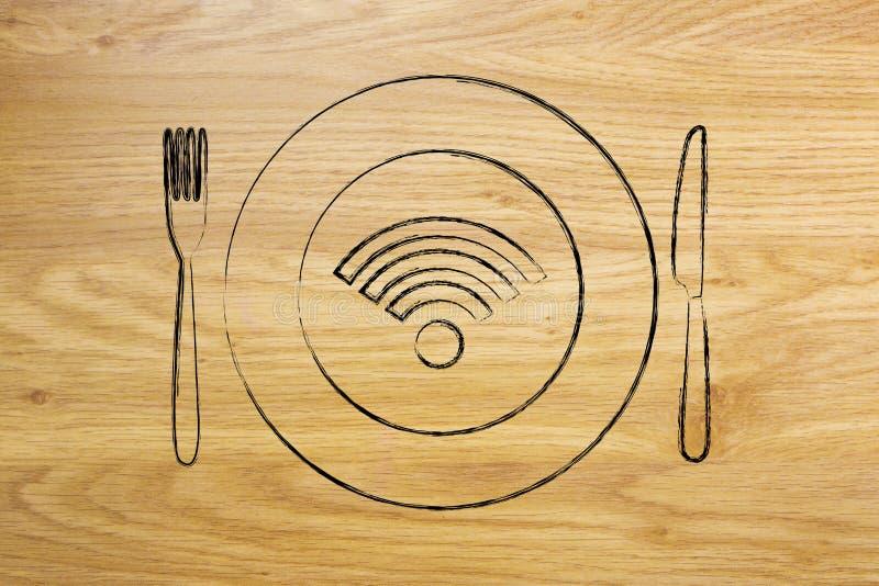 Logotipo de Wi-Fi na placa com faca e forquilha, conexão livre ilustração royalty free
