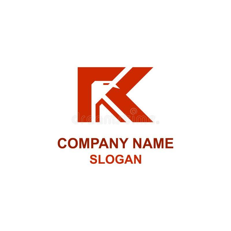 Logotipo del águila de la inicial de la letra de R stock de ilustración