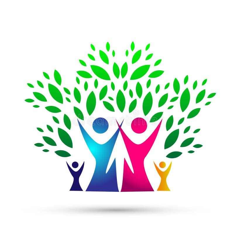 Logotipo del árbol de familia, familia, padre, niños, amor verde, parenting, cuidado, vector del diseño del icono del símbolo en  stock de ilustración
