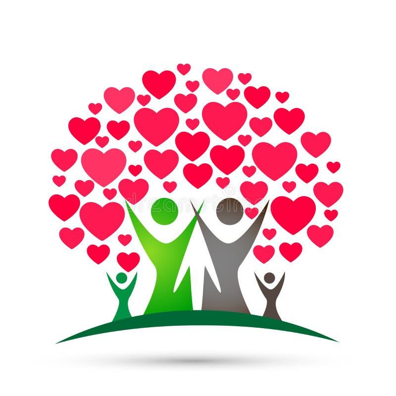 Logotipo del árbol de familia, familia, padre, niños, corazón rojo, amor, parenting, cuidado, vector del diseño del icono del sím ilustración del vector