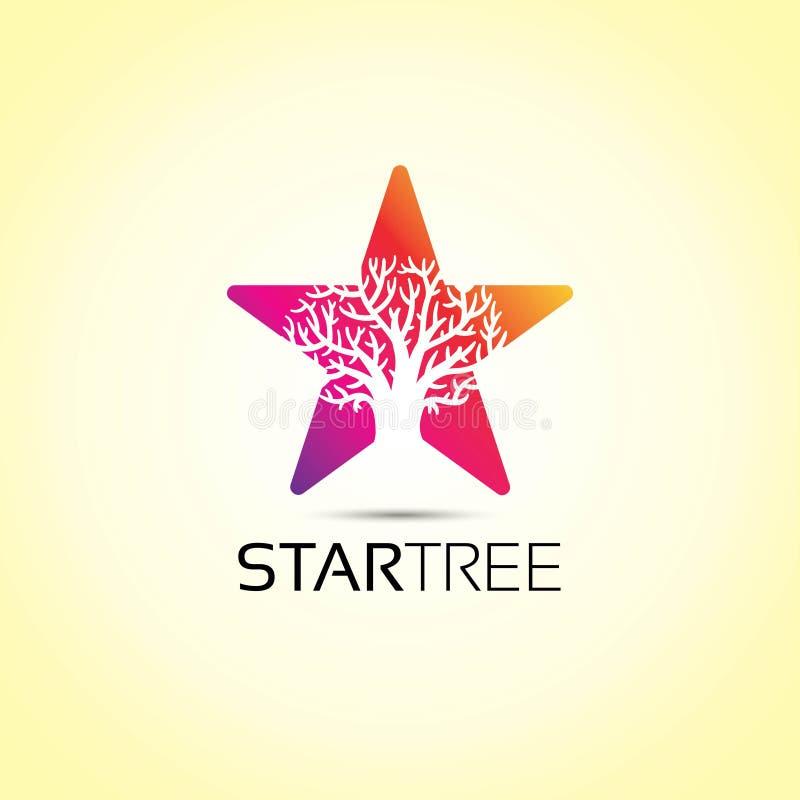 Logotipo del árbol de la estrella stock de ilustración