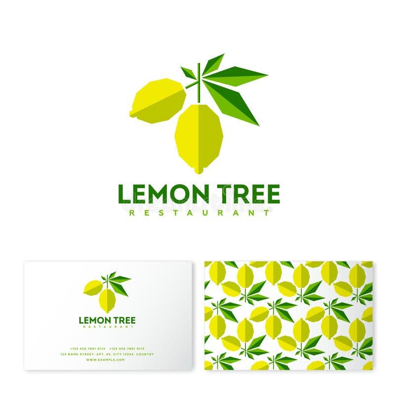 Logotipo del árbol de limón Emblema del restaurante Limones con las hojas como un applique ilustración del vector