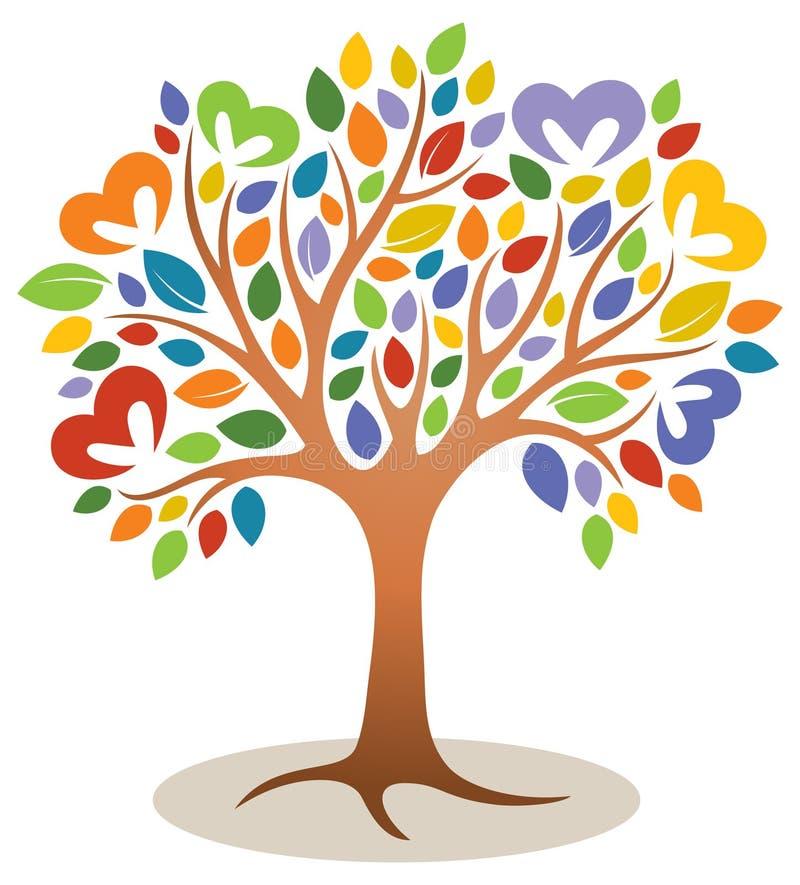 Logotipo del árbol del corazón stock de ilustración