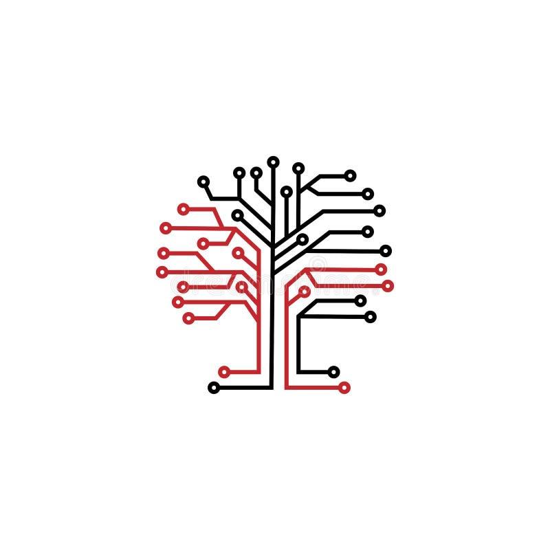 Logotipo del árbol del microchip Árbol de Digitaces, tecnología, naturaleza, radio, Internet, red, tecnologías, plantilla del log stock de ilustración