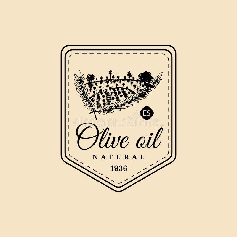 Logotipo del aceite de oliva del vintage del vector Emblema retro con la arboleda y el campo rústicos La mano bosquejó la muestra ilustración del vector