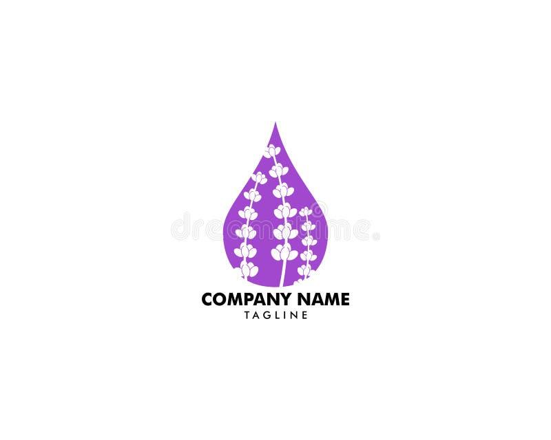Logotipo del aceite esencial de la lavanda, logotipo del Aromatherapy, icono con un descenso del aceite esencial de la lavanda, A ilustración del vector