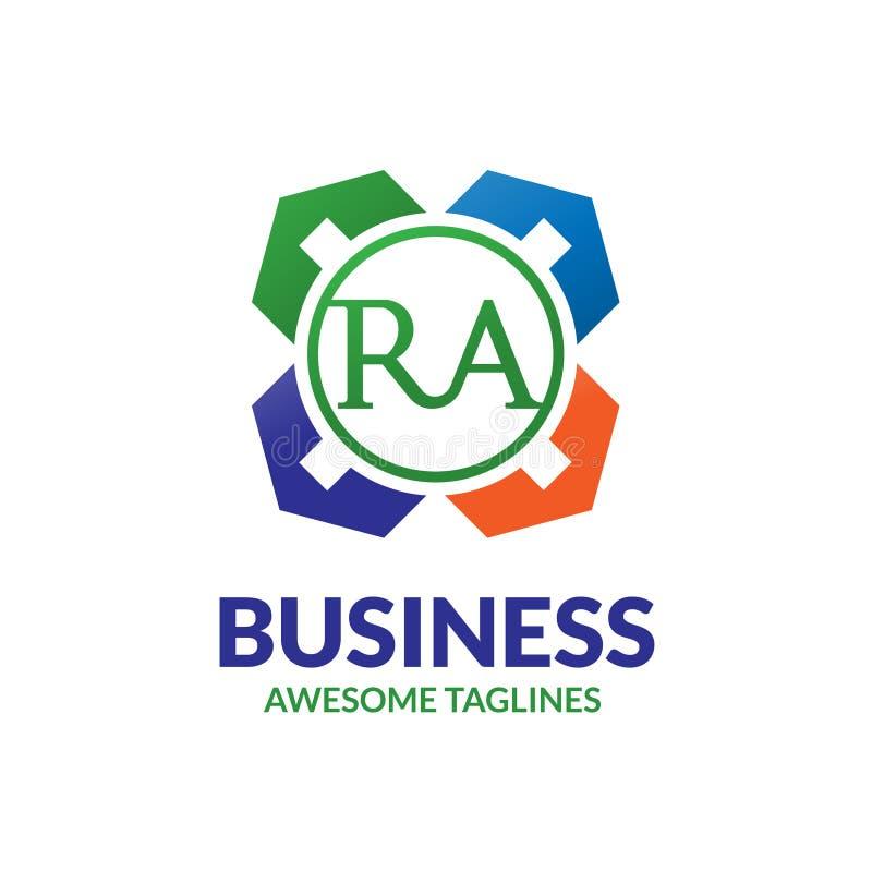 Logotipo del agente de la comunidad de bienes del RA de la letra stock de ilustración